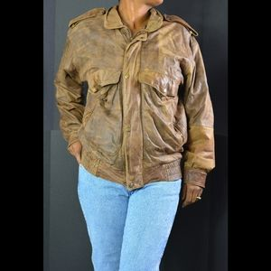Leather Bomber Jacket Distressed Brown Size Small